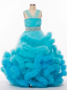 Glorious Tulle Sleeveless Floor Length Girls Pageant Dresses and Beading and Hand Made Flower