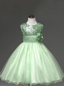 Custom Design Sleeveless Tulle Knee Length Zipper Kids Formal Wear in Apple Green with Sequins and Hand Made Flower