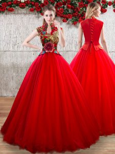 Customized High-neck Short Sleeves Organza Vestidos de Quinceanera Appliques Lace Up