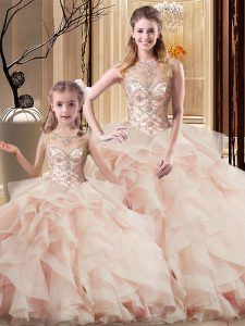 High Class Brush Train Ball Gowns Quinceanera Dresses Peach Scoop Tulle Sleeveless Lace Up