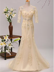 Dramatic Champagne Lace Up V-neck Beading and Lace and Appliques Mother Of The Bride Dress Tulle 3 4 Length Sleeve Brush Train