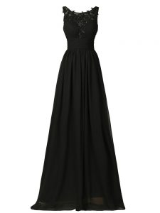 Black Empire Scoop Sleeveless Chiffon Floor Length Zipper Appliques Quinceanera Court Dresses