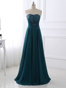 Teal Zipper Mother Of The Bride Dress Sequins and Ruching Sleeveless Floor Length