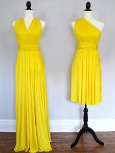 Yellow Chiffon Lace Up Halter Top Sleeveless Floor Length Dama Dress for Quinceanera Ruching