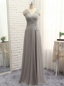 Free and Easy Grey V-neck Neckline Lace and Appliques Mother Of The Bride Dress Sleeveless Zipper
