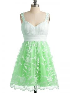 Lace Straps Sleeveless Lace Up Lace Quinceanera Dama Dress in Apple Green