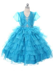 Baby Blue Organza Lace Up Girls Pageant Dresses Sleeveless Floor Length Beading and Ruffled Layers and Bowknot