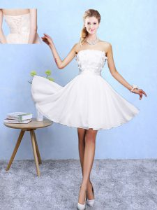 Comfortable White A-line Appliques Damas Dress Lace Up Chiffon Sleeveless Knee Length