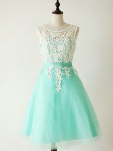 Suitable Scoop Sleeveless Tulle Dama Dress for Quinceanera Lace Lace Up