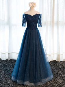Navy Blue Mother Of The Bride Dress Prom and Party and Sweet 16 with Beading and Lace and Appliques V-neck Half Sleeves Lace Up
