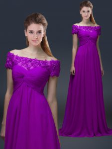 Floor Length Empire Short Sleeves Purple Mother of Groom Dress Lace Up