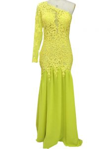 Yellow Side Zipper One Shoulder Lace and Appliques Mother Of The Bride Dress Chiffon Long Sleeves Brush Train