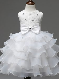 New Arrival Sleeveless Lace and Ruffled Layers and Bowknot Zipper Glitz Pageant Dress