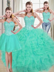 Amazing Turquoise Lace Up Quinceanera Dress Beading and Ruffled Layers Sleeveless Brush Train