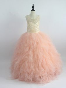 Ball Gowns Little Girl Pageant Dress Peach Scoop Tulle Sleeveless Floor Length Zipper