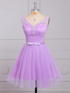 Sleeveless Lace Up Mini Length Appliques and Belt Dama Dress for Quinceanera