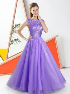 Lavender Tulle Backless Bateau Sleeveless Floor Length Damas Dress Beading and Lace