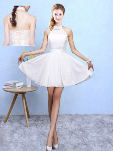 Fantastic White Chiffon Lace Up Halter Top Sleeveless Knee Length Dama Dress for Quinceanera Lace