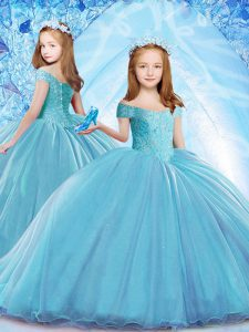 Baby Blue Cap Sleeves Brush Train Beading Little Girl Pageant Gowns