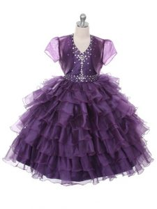Floor Length Purple Pageant Dress Womens Halter Top Sleeveless Lace Up