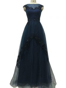 Exquisite Floor Length Zipper Mother Dresses Navy Blue for Prom and Beach with Lace and Appliques