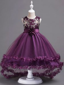 Dark Purple Ball Gowns Appliques and Hand Made Flower Little Girls Pageant Gowns Zipper Tulle Sleeveless High Low