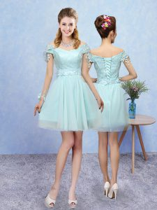 V-neck Short Sleeves Tulle Quinceanera Dama Dress Lace Lace Up