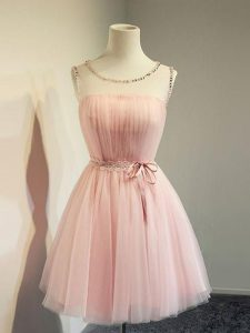 Noble Scoop Long Sleeves Quinceanera Court Dresses Knee Length Belt Baby Pink Tulle