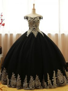 Custom Fit Black Sleeveless Floor Length Appliques Lace Up Sweet 16 Quinceanera Dress