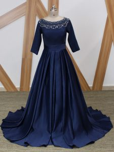 Glorious Navy Blue 3 4 Length Sleeve Beading Zipper Mother Of The Bride Dress