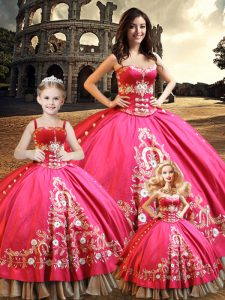 Best Selling Hot Pink Sweetheart Lace Up Beading and Embroidery Sweet 16 Quinceanera Dress Sleeveless