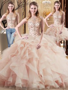 Custom Fit Peach Lace Up 15 Quinceanera Dress Beading and Ruffles Sleeveless Brush Train