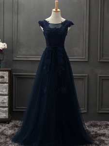 Fantastic Sleeveless Tulle Mini Length Lace Up Mother of Groom Dress in Navy Blue with Beading and Lace and Appliques
