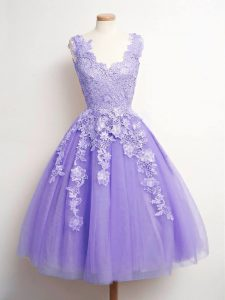 Discount Lavender Lace Up V-neck Lace Quinceanera Court of Honor Dress Tulle Sleeveless