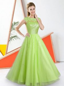 Bateau Sleeveless Court Dresses for Sweet 16 Floor Length Beading and Lace Yellow Green Tulle
