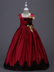 Taffeta Square Sleeveless Zipper Appliques and Bowknot Custom Made Pageant Dress in Wine Red