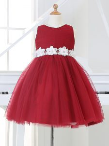 Scoop Sleeveless Tulle Little Girl Pageant Dress Appliques Zipper