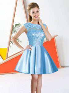 Sleeveless Backless Knee Length Beading and Lace Dama Dress for Quinceanera