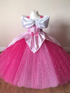 Super Tulle Off The Shoulder Short Sleeves Zipper Sequins Kids Pageant Dress in Fuchsia