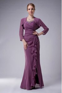 Classical Purple Mother of Bride Dresses Prom and Party with Beading Straps Sleeveless Zipper