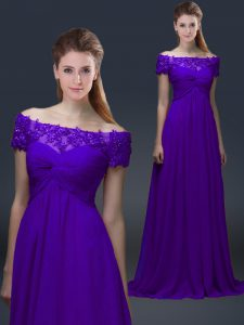 Stunning Purple Off The Shoulder Neckline Appliques Mother Of The Bride Dress Short Sleeves Lace Up