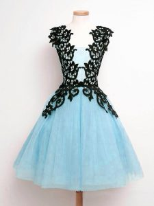 Sumptuous Aqua Blue A-line Lace Damas Dress Lace Up Tulle Sleeveless Knee Length