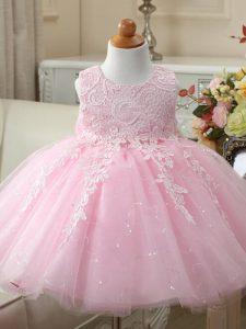 Tulle Scoop Sleeveless Zipper Appliques and Bowknot Pageant Dress in Baby Pink