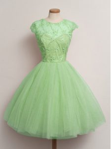 Decent Lace Up Quinceanera Court Dresses Lace Cap Sleeves Knee Length