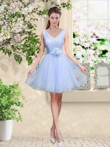 Sleeveless Tulle Knee Length Lace Up Quinceanera Dama Dress in Lavender with Lace and Belt