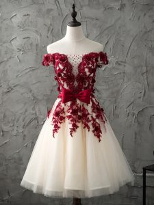 Champagne A-line Appliques and Bowknot Dama Dress for Quinceanera Lace Up Tulle Sleeveless Knee Length