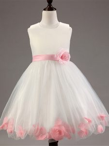 Latest Knee Length Ball Gowns Sleeveless White Little Girl Pageant Gowns Zipper
