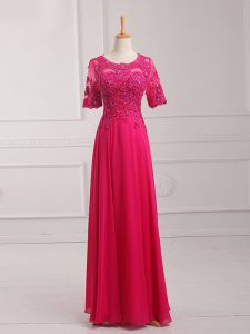 Fantastic Floor Length Zipper Mother Dresses Hot Pink for Prom and Military Ball and Beach with Lace and Appliques