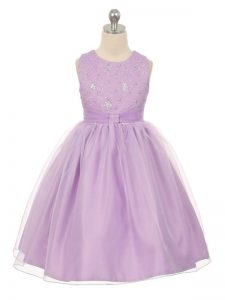 Scoop Sleeveless Lace Up Little Girls Pageant Dress Wholesale Lavender Tulle