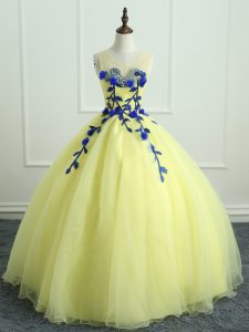 Unique Scoop Sleeveless Lace Up Quinceanera Dresses Light Yellow Organza